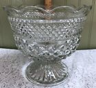 Vintage Anchor Hocking Wexford Footed Centerpiece Compote Bowl Diamond