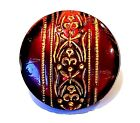 Lovely Antique Victorian Ruby Red Glass Button with Strong Gold Design