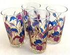4 set CULVER Mid Century Rare HTF Purple Iris Floral Bar Glass Highball 22K Gold