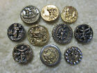 LOT OF SMALL ANTIQUE / VICTORIAN METAL FIGURES/ PEOPLE PICTURE BUTTONS