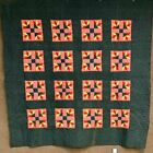 PA Dutch c 1890-1900 Goose Track ANTIQUE   Quilt Red Green