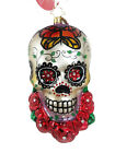 Radko Skull w/ Butterfly Roses Jeweled Glass Ornament Day Of The Dead Halloween