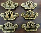 (6) Vintage COLONIAL STYLE Brass Tone CHIPPENDALE Drawer Cabinet Pulls w/Screws