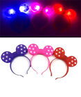 12 Minnie Mouse Bows Light Up Headbands Mickey Mouse Party Rave Flashing Favors