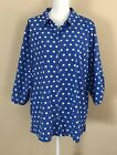 SUSAN GRAVER Cool Peach Polka Dot Shirt with 3 4 Ruched Sleeves Blue Size 1X