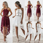 Women's Halter Lace Dress High Low Hemline Formal Party Boho Cocktail Dresses