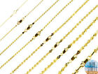 14k Gold over 925 SOLID Sterling Silver Diamond Cut ROPE Chain Necklace