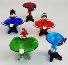 5 Vintage Hand Blown Murano Glass Clowns Candy Nut Ashtray Bowls Lot