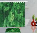 Exotic Tropical Plants Green Leaves Theme Shower Curtain Set Waterproof Fabric