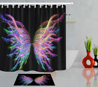 Black Background Creative Abstract Butterfly Fabric Shower Curtain Set Hooks 72