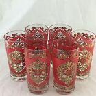 VINTAGE WINE/WATER GLASSES STARLYTE SET 6 HOLIDAY RED GOLD DRINKWARE SIGNED