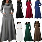 Casual Womens Cowl Neck Long Sleeve Swing Pocket Party Evening Maxi Full Dress