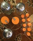 Antique 5 Sugar Shakers, 9 Salt and Pepper Shakers Orange And Stainless Caps.