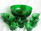 Vintage Forest Green Glass Anchor Hocking Punch Bowl 12 Cups Stand Complete Set