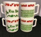 4 Hazel Atlas Egg Nog Jingle Bell Cups Christmas Mugs Milk Glass