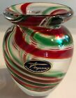 Ferguson Galleries Signed 4 3 4 Art Glass Green  Red Circular Stripes Vase