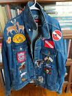 Vintage Wrangler Denim Jean Jacket MENS XL Patches FORD NAVY FALCONS Hunting