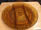 Indiana Amber Glass Round Divided (3) Relish Beautiful Dish/Serving Platter