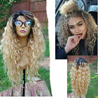 Hot Women Ombre Blonde Kinky Curly Wig Afro American Wigs Soft Synthetic Wig USA