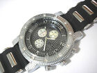 Silver Tone Metal Big Case Rubber Band Men's Watch w Crystals Item 4472
