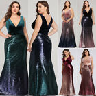 Ever Pretty US V neck Evening Dress Long Sequins Mermaid Bodycon Prom Gown 07767
