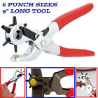 9 Heavy Duty Leather Hole Punch Hand Pliers Belt Holes 6 Sized Punches Tool New