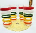 Vintage Anchor Hocking Fiesta Striped Drinking Glasses Tumblers / Nice Lot of 4