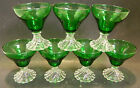 Set of (7) Anchor Hocking Burple Forest Green Swirl Base Sherberts 3.75