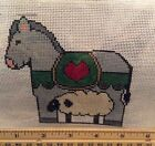 Hand Painted Needlepoint Canvas Nativity Donkey Sheep with Floss