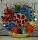 Fusion Art Glass Plate Fruit Medley 135 Round Signed William McGrath