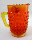 Creamer Pitcher Fenton Hobnail Amberina Art Glass Orange Yellow