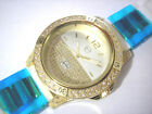 Iced Out Bling Bling Rubber Band Techno Pave Men's Watch Gold White Item 5087
