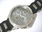 Iced Out Bling Bling Big Case Rubber Band Techno King Men's Watch Silver # 3712