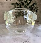 Lalique Orchidee Orchid Vase Clear Crystal with attached Opalescent Orchids