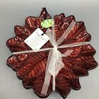 4 Akcam Turkish Glass Dessert Plate Set Poinsettia Red Sparkle Glitter Christmas