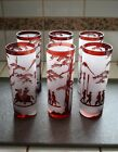 Mid Century Asian Japanese Ruby Etched Glasses Set of 6 Frosted Tumbler Highball