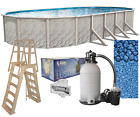 Above Ground Oval MEADOWS Swimming Pool w Boulder Liner Ladder