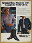 1972 Wrangler Western Wear Jeans Boots rodeo cowboy Phil Lyne vintage print Ad