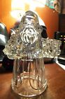 Santa Claus Holding Tree  Present Heavy Crystal Lead Taper Candle Stick Holder