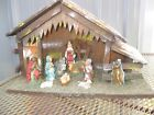 vintage Antique Wooden Nativity Scence Stable Manger Christmas Baby Jesus Figure