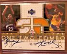 2002-03 MICHAEL JORDAN AND KOBE BRYANT UD GLASS DUAL JERSEY AUTOGRAPH #3 25