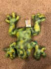 """2000 Animal Alley Plush lime green yellow Toad Frog stuffed animal Beanie toy 8"""""""