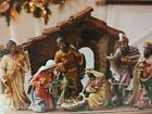 Hand Painted nativity Scene Set 9 Pc Members Mark New In Box