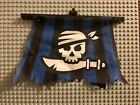 LEGO PIRATE FLAG PIECE CLOTH Blue BLACK WHITE SHIP FLAG SAIL PART Skull Sword