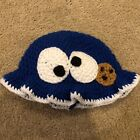 HAND KNITTED CROCHET BABY OR TODDLER  COOKIE MONSTER RUFFLED BEANIE HAT MLM