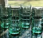 4 Vintage Anchor Hocking Blue/Green/Teal Tartan Block Tumblers/Glasses