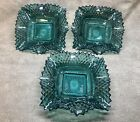 Three Vintage Teal Indiana Glass Diamond Cut Ruffled Edge Candy Nut Dish