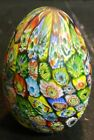 Vintage Multi Color Millefiori Egg Shaped Glass Paperweight Italy 275 x 2 Exc