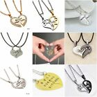 His and Hers Best Friend Friendship 2 Piece Break Heart Pendant Necklace Jewelry