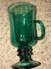 SET OF 3  Libbey Footed Mug Pedestal Green/ AQUA Glass Coffee MUG, Tea MUG/ CUP